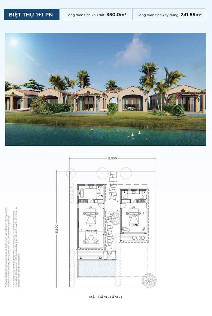 thiết kế biệt thự 1+1 phòng ngủ nova beach cam ranh