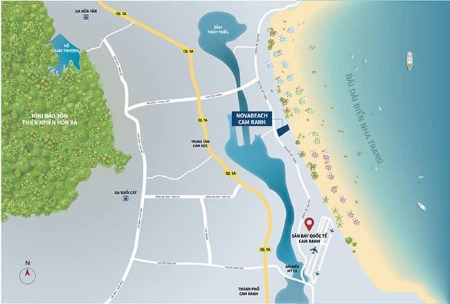 vị trí nova beach cam ranh resort villas
