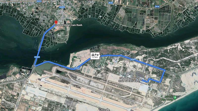 khoảng cách từ khách sạn Navy Hotel đến sân bay Cam Ranh
