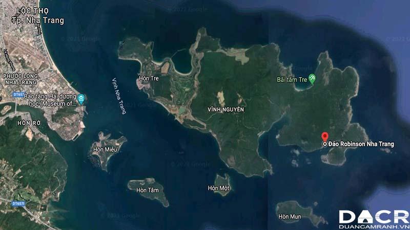 Vị trí đảo robinson Nha Trang trên google maps