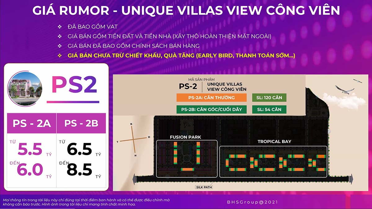 Giá rumor unique villas Para Sol view công viên